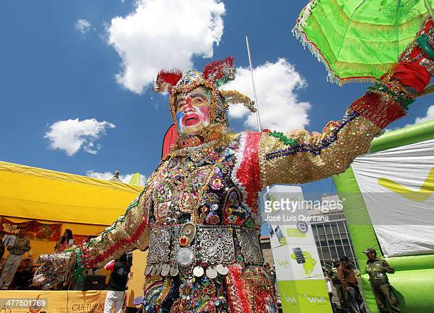 An Arlequin during Entierro Del Pepino Fest as part of canival closing celebration on Marcha 9 2014 in La Paz Bolivia