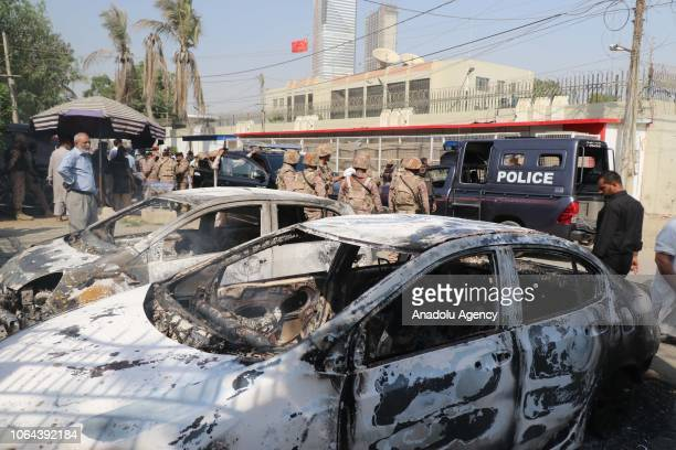 An armed attack targeting the Chinese Consulate located in Clifton area of Pakistan's Karachi leaves two cars wrecked on November 23, 2018. At least...