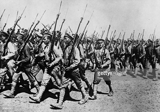 An armed battalion of the Red Army parading in Kharkov in 1920