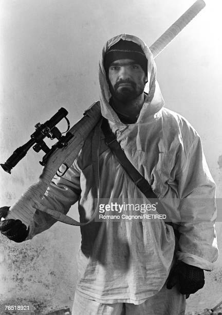 An armed man in Chechnya during the First Chechen War with Russia 1995