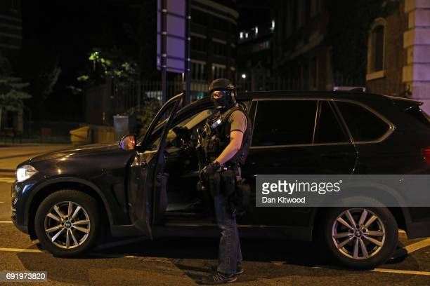 An armed police officer at London Bridge on June 3 2017 in London England Police have responded to reports of a van hitting pedestrians on London...