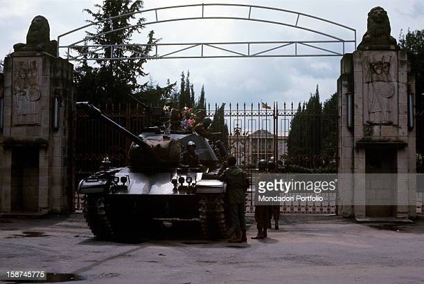 An armed tank guards the entrance of the imperial palace during the putsch against Hailé Selassié Addis Abeba September 1974