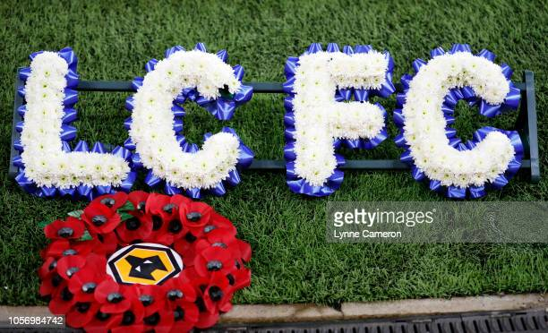 An Armistice wreath is seen next to a letter wreath as support to Leicester City during the Premier League match between Wolverhampton Wanderers and...