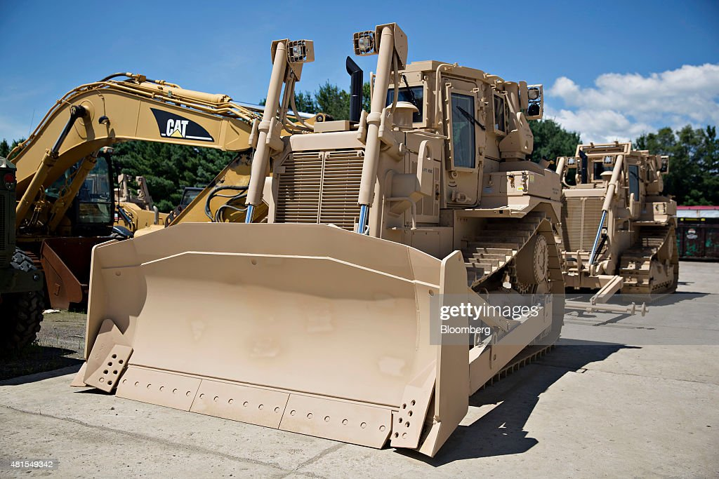 An armored cab sits on top of a Caterpillar Inc  D7R-II