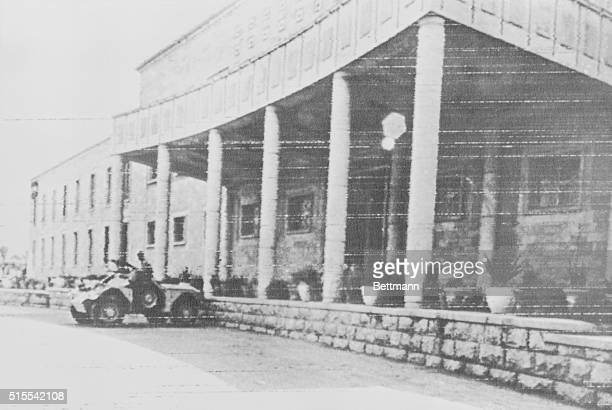 An armored car stands outside the Presidential Palace on July 19th 1968 in the wake of the coup d'etat of July 17 In a bloodless coup Major General...