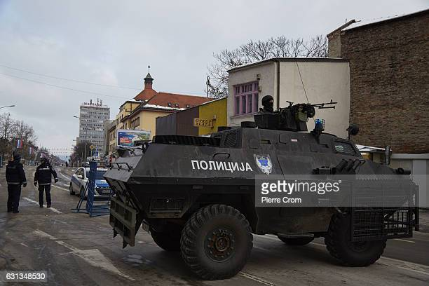 An armored military vehicle blocks the main avenue as people celebrate the illegal statehood day of the Serbian entity Republika Srpska despite the...