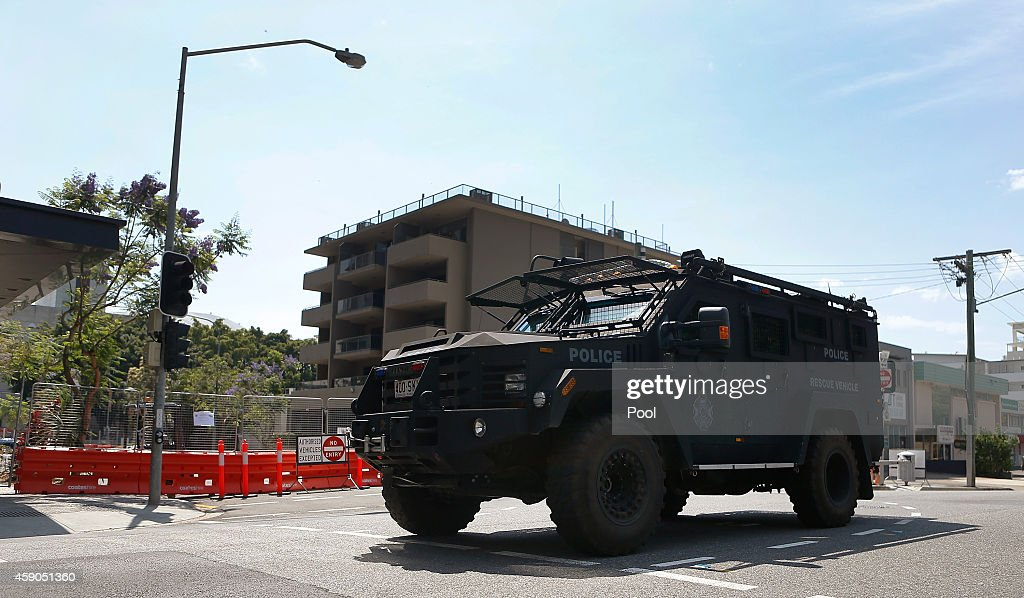 An armored police vehicle patrols near the Brisbane Convention and Exhibition Centre on November 16, 2014 in Brisbane, Australia. World leaders have gathered in Brisbane for the annual G20 Summit and are expected to discuss economic growth, free trade and climate change as well as pressing issues including the situation in Ukraine and the Ebola crisis.