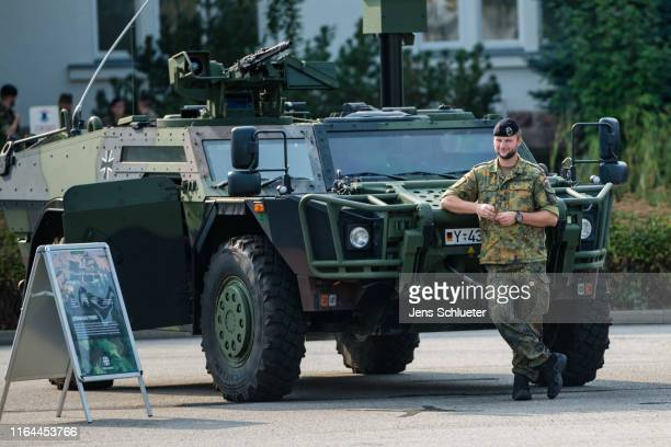 An armored scout car 'Fennek' of the Bundeswehr during the visit of the new German Defense Minister Annegret KrampKarrenbauer at the 37th Armored...