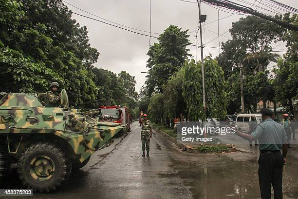 An armoured personnel carrier of the Bangladesh Army is brought out to take part in a raid on Holey Artisan Bakery cafe which was attacked by gunman...