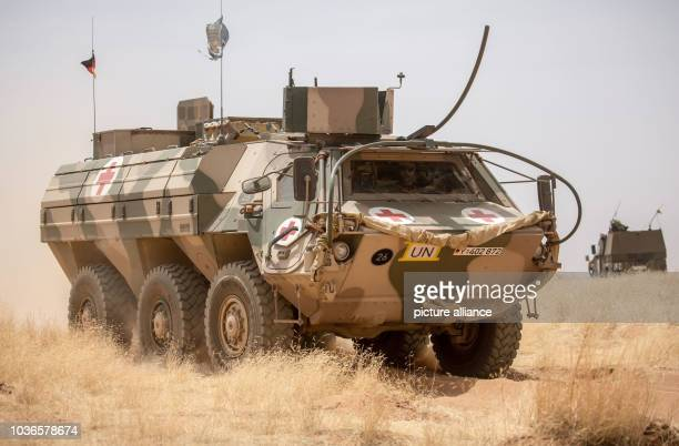 An armoured TPz Fuchs transport vehicle pictured during a drill at Camp Castor in Gao, Mali, 05 April 2016. Members of the German armed forces have...