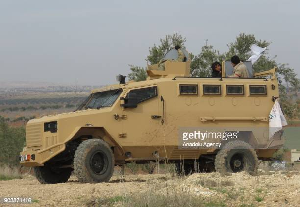An armoured vehicle is seen in Idlib Syria on January 11 2018 Assad Regime and its supporter terrorist groups continue their attacks in the...