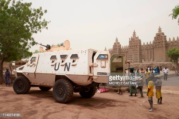 An armoured vehicle of the United Nations Multidimensional Integrated Stabilisation Mission in Mali patrols during the annual rendering of the Great...