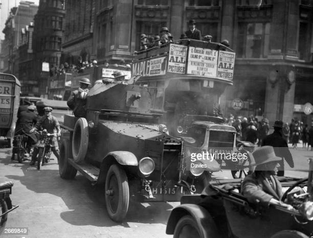 An armoured vehicle patrolling Oxford Street in London on the fifth day of the 1926 General Strike