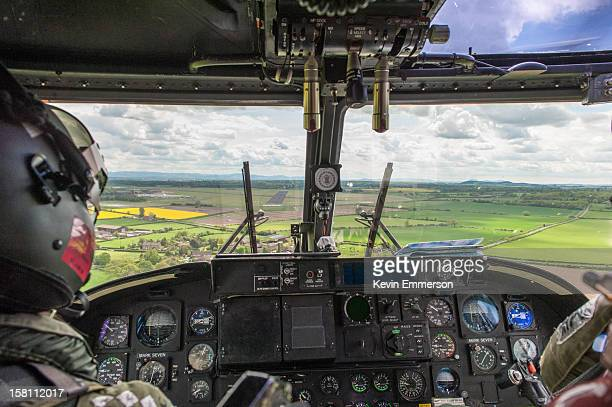 An Army Air Corps Lynx helicopter approaches runway 23 at RAF Shawbury.