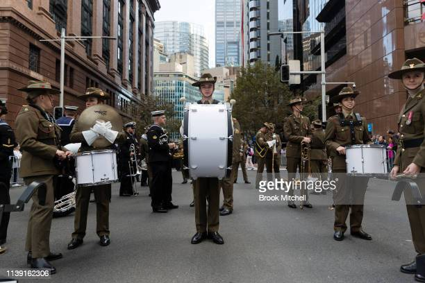 An army drummer is pictured before the ANZAC Day March on April 25 2019 in Sydney Australia Australians commemorating 104 years since the Australian...