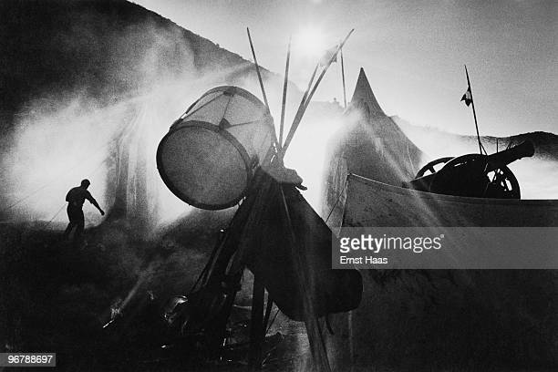 An army encampment on the set of 'The Pride and the Passion' directed by Stanley Kramer' 1956 The film is being shot on location in Spain