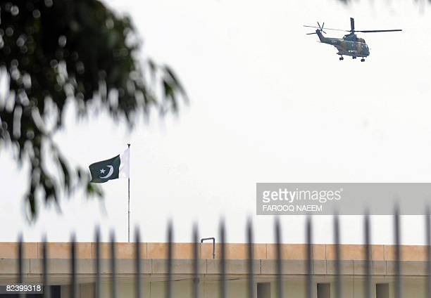 An army helicopter carrying Pakistani President Pervez Musharraf leaves the presidency after his resignation in Islamabad on August 18 2008 Musharraf...