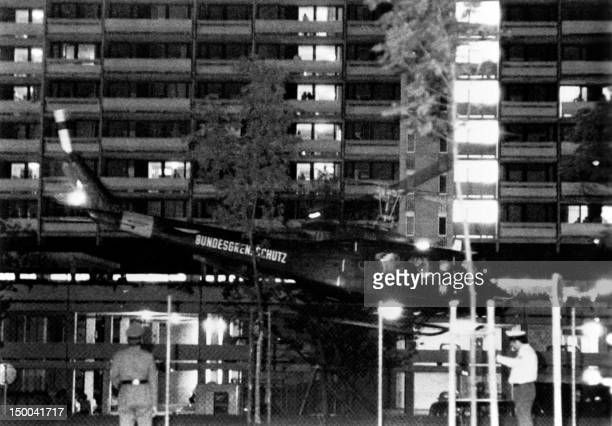 An army helicopter with arab guerillas and hostages takes off from the Olympic village for Fürstenfeldbruck Air Base on September 05 1972 in Munich...
