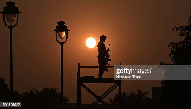 An Army Jawan on alert during the occasion of the Indian Army Day Public Performance by Indian Army in the wake of Indian Army Day at Central Park...