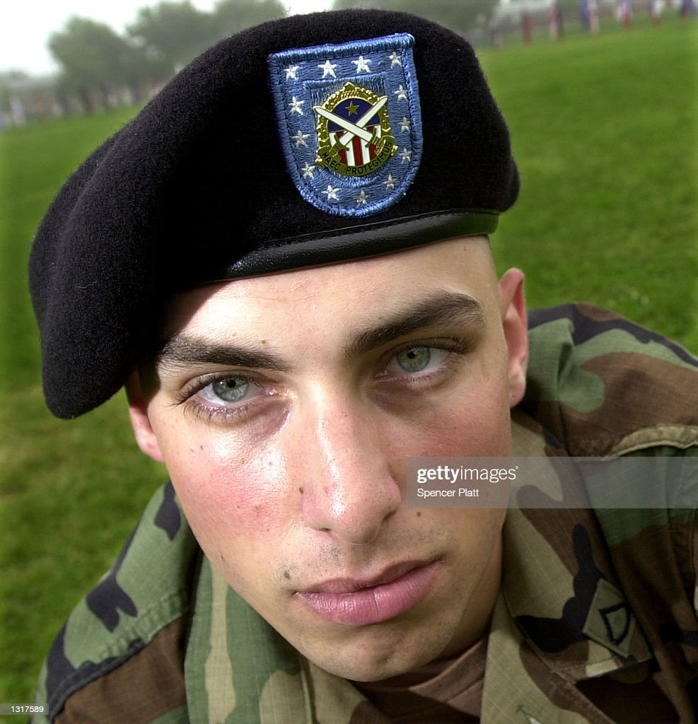 An Army Private wears a new black beret at the United States