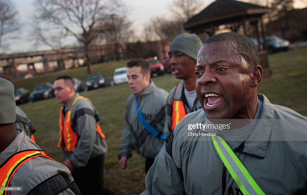 An Army sergeant calls out a cadence for march during morning drills with other soldiers at Fort Hamilton, New York City's only active-duty military base, on March 27, 2009 in the Brooklyn borough of New York City. Fort Hamilton is one of the oldest military bases in the country, and has over two hundred active duty military along with their families, many of them living in base housing. Built in the early 19th century, Fort Hamilton stands at the site on the Verrazano Narrows where the British first landed to face George Washington's army at the beginning of the American Revolution. Military recruiters currently often use the garrison to funnel through new enlisted recruits from the New York metropolitan area to complete their paperwork and medical tests prior to leaving for basic training and their first assignment in active duty.