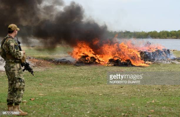 An army soldier stands guard as 14182 kilos of seized marijuana are incinerated in Asuncion on June 29 2018 The drug was seized on Moday in Guayaibi...