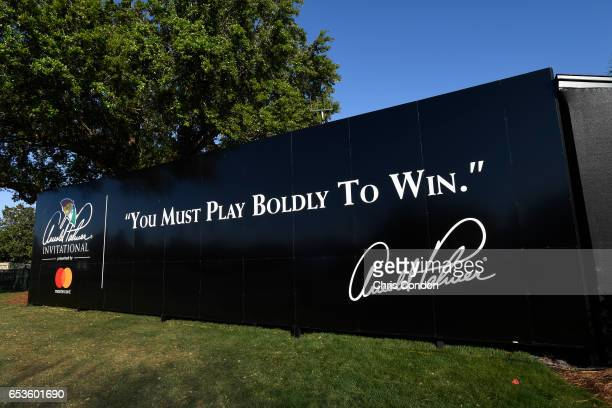 An Arnold Palmer quote board near the 10th tee during practice for the Arnold Palmer Invitational presented by MasterCard at Bay Hill Club and Lodge...