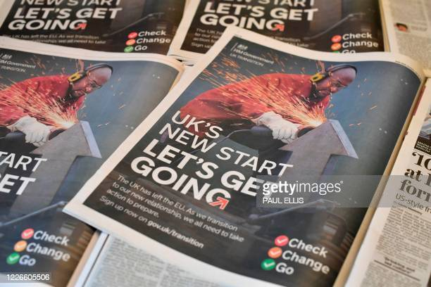An arrangement of British daily newspapers photographed as an illustration in Liverpool north west England on July 13 shows the government's new...