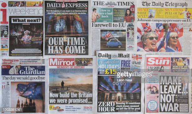 An arrangement of British national newspaper front pages are seen on February 1, 2020 in London, England. At 11.00pm on Friday 31st January the UK...