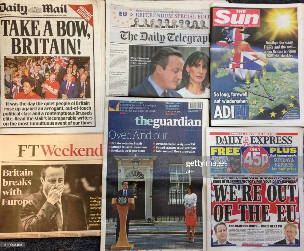An arrangement of newspapers pictured in London on June 25, 2016, as an illustration, shows the front pages of the English newpapers reporting the resignation of British Prime Minister David Cameron following the result of the UK's vote to leave the EU in the June 23 referendum. Britain voted to break away from the European Union on June 24, toppling Prime Minister David Cameron and dealing a thunderous blow to the 60-year-old bloc that sent world markets plunging. / AFP PHOTO / Rob Bodman
