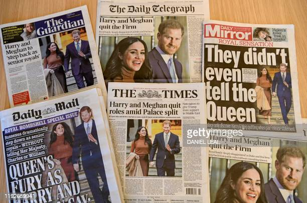 An arrangement of UK daily newspapers photographed as an illustration in London on January 9 shows front page headlines reporting on the news that...
