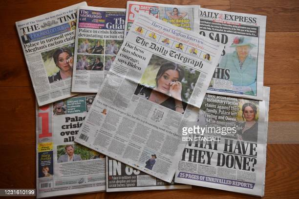 An arrangement of UK daily newspapers photographed as an illustration in Brenchley, Kent on March 9 shows front page headlines reporting on the story...