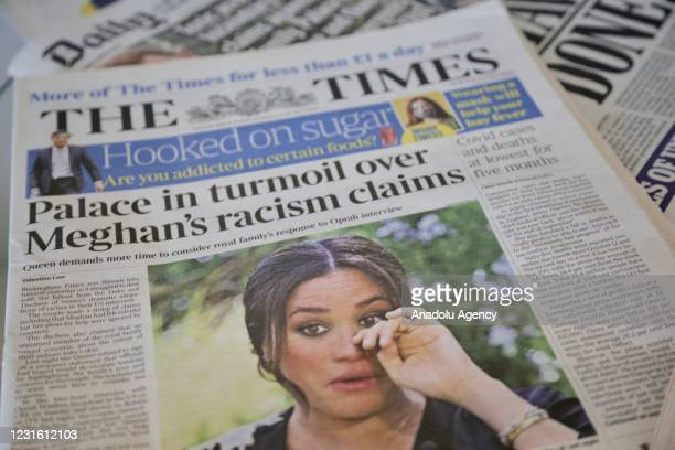 An arrangement of UK daily newspapers show front page headlines reporting on the story of the interview given by the Duchess of Sussex, Meghan Markle...