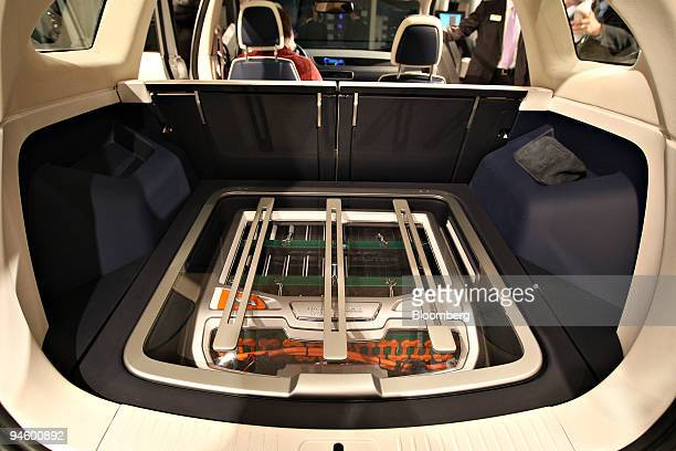 An array of 88 lithium ion batteries sit in the rear of the Johnson Controls i3 plugin hybrid following their debut at the 2008 North American...