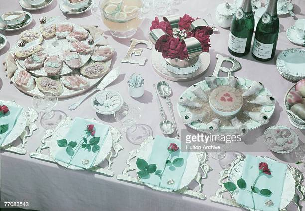 An array of cold platters laid out for a celebration of Queen Elizabeth II's coronation 1953