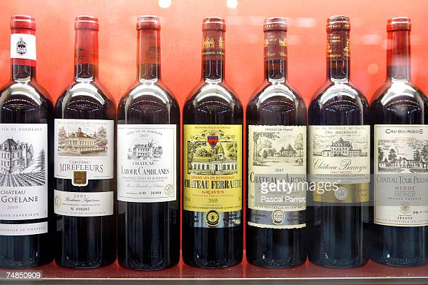 An array of red wines on show at Vinexpo on June 20 2007 in Bordeaux France The annual event draws major producers tasters and purchasers from all...