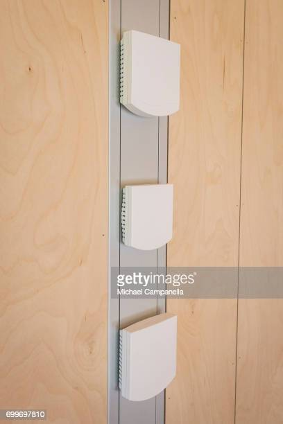 An array of sensors that control temperature CO2 levels and more inside of a zeroemissions home which was built for an exhibition during the 2017...