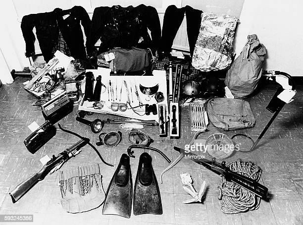 An array of weapons used by Donald Neilson Britains notorious Black Panther killer serving life imprisonment for the shotgun murders of 3...