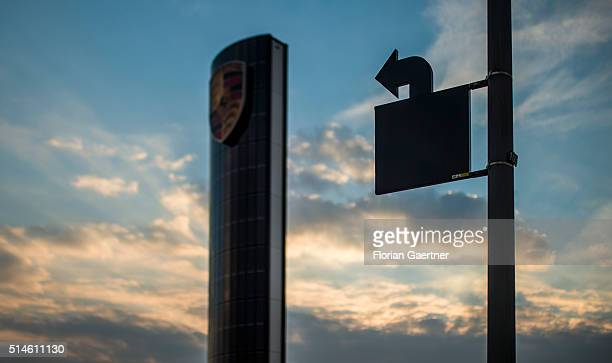 An arrow shows to a photovoltaics pylon during sunset on March 08 2016 in Berlin Germany