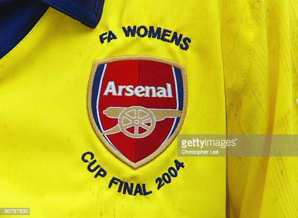 An Arsenal badge is displayed showing the event during the Womens FA Cup Final match between Arsenal and Charlton Athletic at Loftus Road Stadium on...