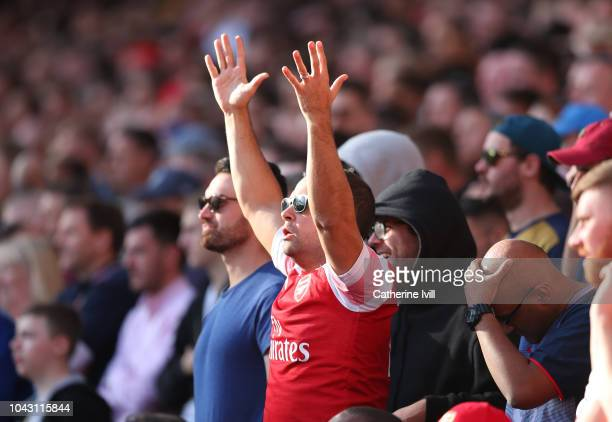 An Arsenal fan appeals during the Premier League match between Arsenal FC and Watford FC at Emirates Stadium on September 29 2018 in London United...