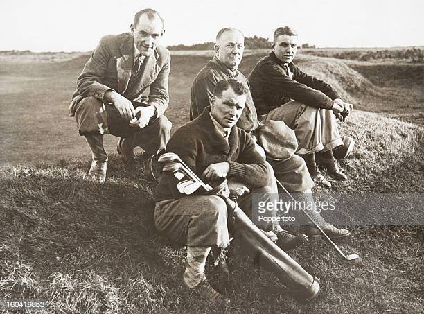 An Arsenal quartet during a golf day on the 12th green of Brighton Golf Links circa January 1931 The photograph was taken during the week building up...