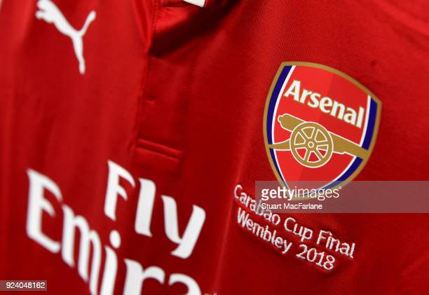 An Arsenal shirt hangs in the changing room before the Carabao Cup Final between Arsenal and Manchester City at Wembley Stadium on February 25 2018...