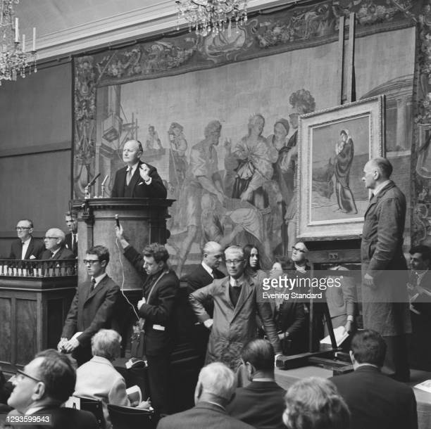 An art auction at Sotheby's auction house in London, UK, 26th April 1967. The painting is Pablo Picasso's 'Mother and Child on the Beach'.
