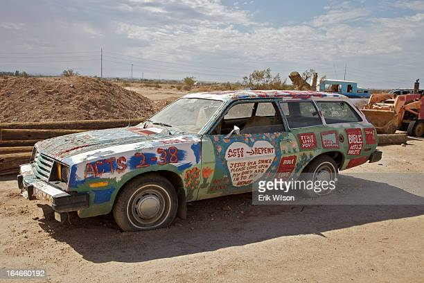 CONTENT] An art car painted by artist Leonard Knight is part of the installation known as Salvation Mountain Slab City near Niland just south of the...