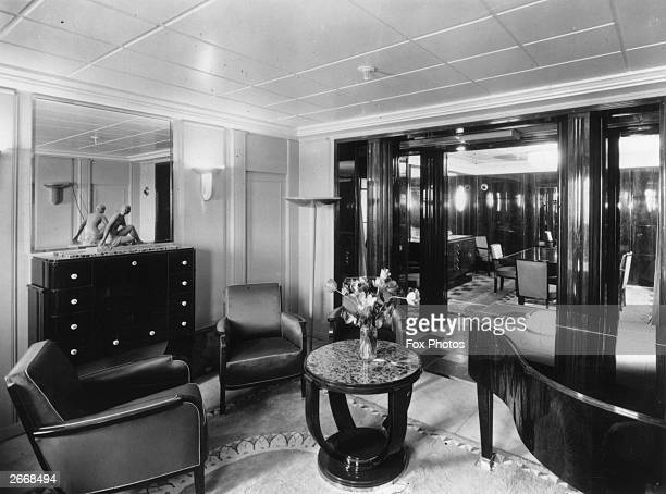An art deco cabin of the French transatlantic liner Normandie the only CGT vessel to win the coveted Blue Riband