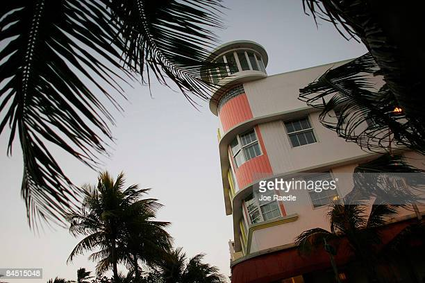 An Art Deco hotel is seen on the famed Ocean Drive strip on January 28 2009 in Miami Beach Florida As the economic downturn continues the number of...