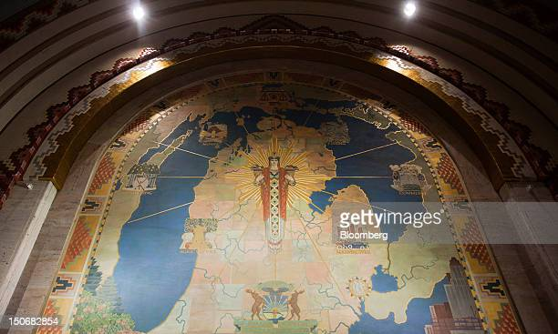An Art deco map of Michigan is displayed in the lobby of the Guardian Building built in 1928 in downtown Detroit, Michigan, U.S., on Monday, Aug. 20,...