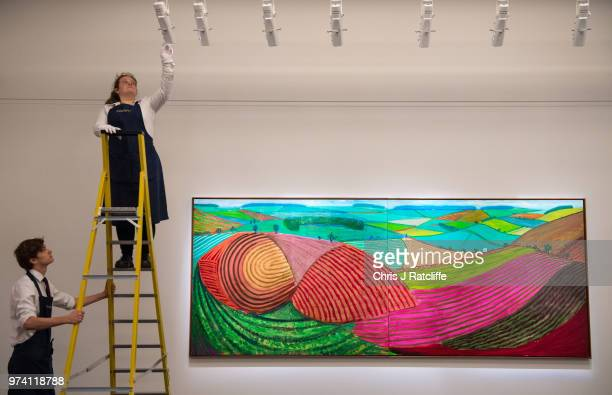An art handler adjusts lighting above 'Double East Yorkshire' by David Hockney during a preview of the Contemporary Art sale at Sotheby's on June 14...