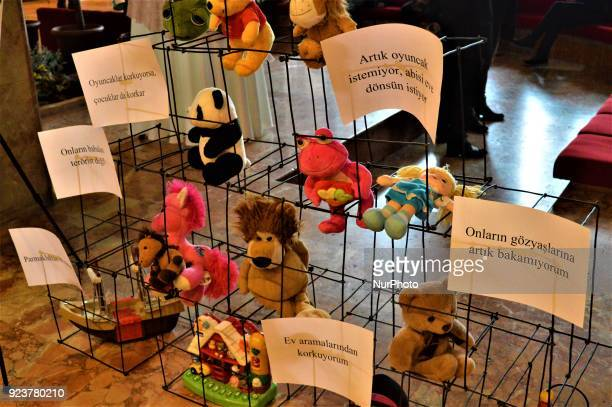 An art illustration shows toys which made for children who has suffered in Crimea during a proUkrainian protest against Russia on the 4th anniversary...